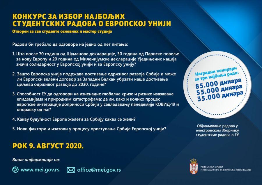 Konkurs za najbolji studentski rad o EU